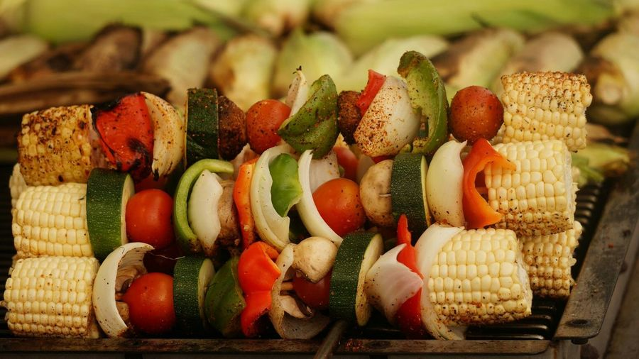 Close-Up Of Skewers On Barbecue