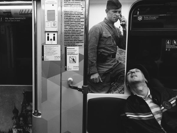 Sleeping soldier One Man Only Indoors  Burnmyeye VSCO Subway Vscocam Train Streetphoto Streetphotography Bnw Blackandwhite Black & White Street Photography Monochrome Two People Spicollective