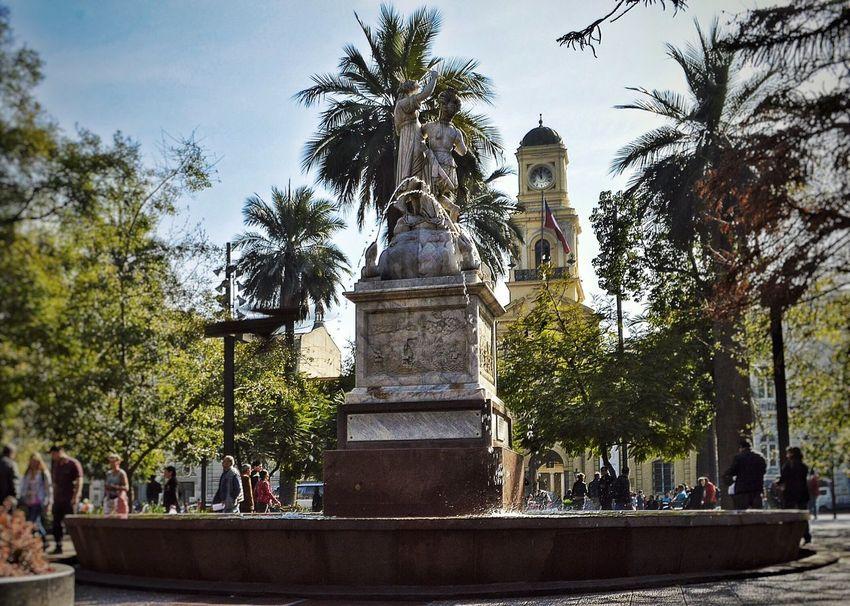 Plaza de Armas de Santiago Palm Tree Person Fountain Tourist Building Exterior Tourism Travel Destinations City Life Chile Santiago City Built Structure Architecture Santiago De Chile
