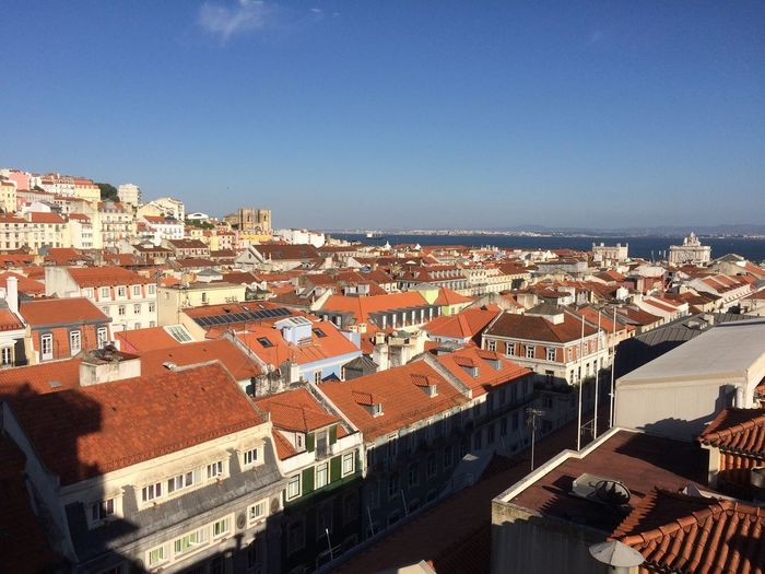 Lisbon - Portugal Architecture Blue Built Structure City Clear Sky Day High Angle View Roof Sunlight Town