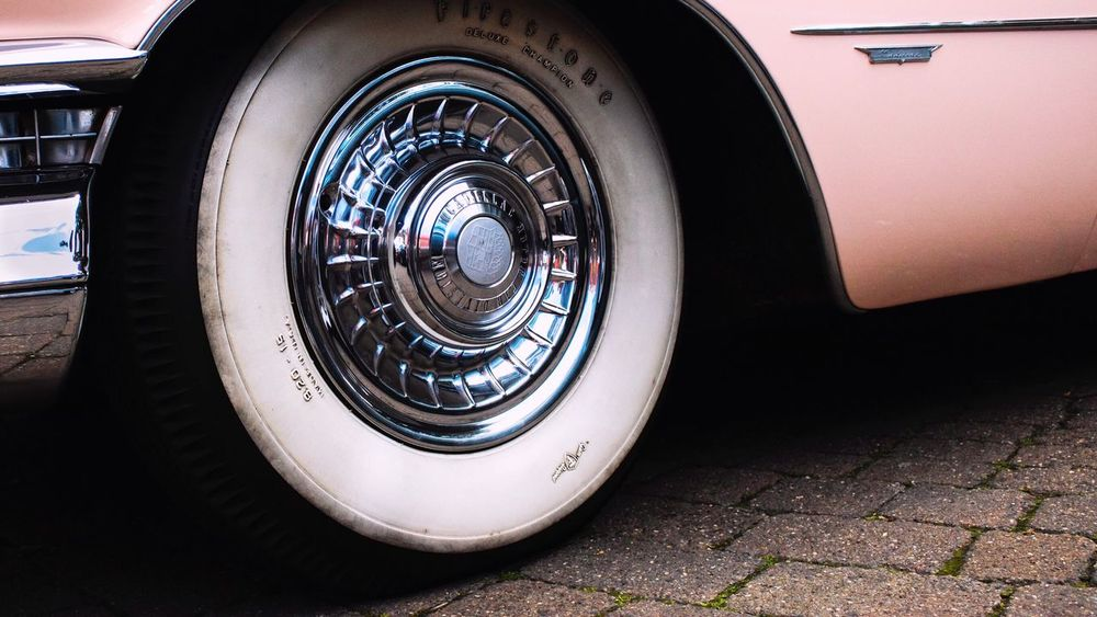 Transportation Car Mode Of Transport Land Vehicle Stationary Tire No People Wheel Day Outdoors Close-up Pink Car Tyres Retro American Cars White Wall Tyre Low Angle View Ilkeston Car Show Cars The Week On EyeEm First Eyeem Photo