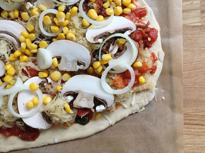 Food Pizza Pizza Time Food And Drink Organic Sourcrout Baking Sauerkraut Maize Bio Tomato Fungi Mushrooms Cheese Cooking Onion Baking Paper Sausage Corn Vegetable Pastry Dough Freshness Food And Drink Indulgence