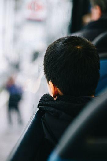 Rear view of boy sitting by window in bus