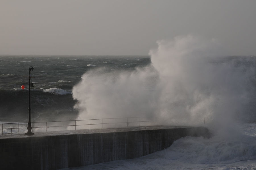 Beauty In Nature Breaking Clear Sky Cornwall Cornwall Storm Cornwall Uk Crash Crashing Waves Storm At Sea Pier Remains White Water Foaming Crashing Waves, Day Force Hitting Horizon Over Water Motion Nature No People Outdoors Porthleven Power In Nature Sea Sky Storm Water Wave