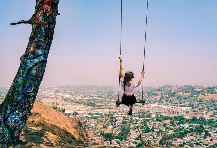 Hidden Swing Swing Woman EyeEm Selects Happiness Colorful California Full Length Hanging Adventure Sky Rope Swing