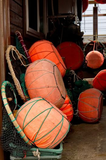 Sea Harubang Jeju South Korea Rope Day No People Buoy Fishing Industry Fishing Equipment Orange Color Outdoors Fishing Net