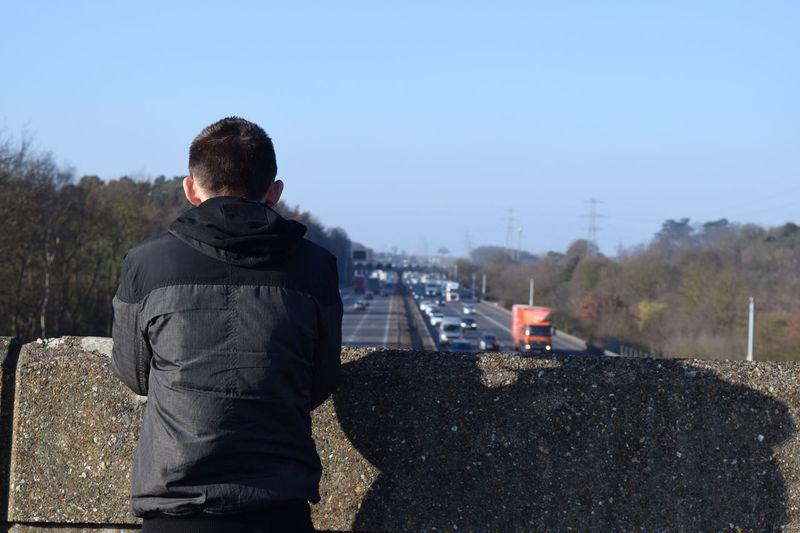 Motorway Adventure Boyfriend Photography Simplistic Thinking Clear Sky Outdoors Sky Portrait Confidence
