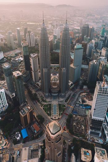 Kuala lumpur twin towers, malaysia Cityscape Skyscraper Building Exterior Tower Aerial View High Angle View Modern Urban Skyline Kuala Lumpur Tower Architecture Malaysia Klcc KLCC Tower