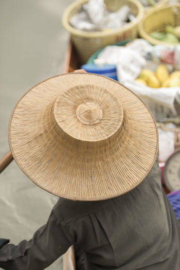 Rear view of a man wearing hat