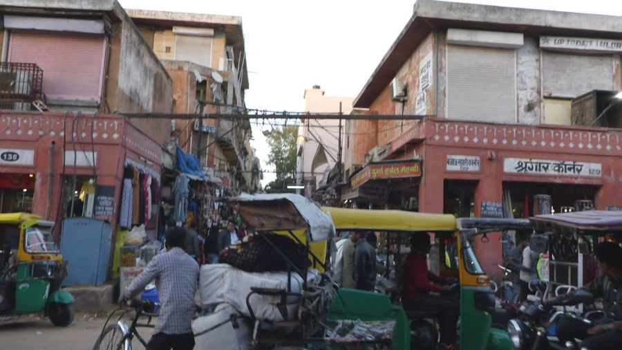 Bazaar in Jaipur Building Exterior Architecture City Group Of People Built Structure City Life Crowd