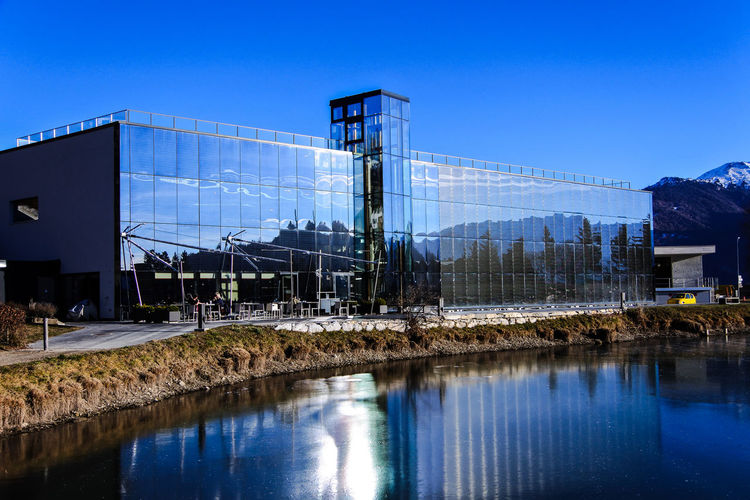 Eyeem Architecture Skyline Water Reflections Architecture Blue Building Building Exterior Built Structure Clear Sky Copy Space Day Glass Reflection Lake Mountain Museum Nature No People Outdoors Reflection Sky Switzerland Water Waterfront The Architect - 2018 EyeEm Awards