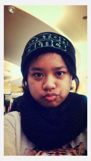 Using mein crush's beanie :) His fave team <3 Boston Celtics Winter Beanie Selfie ♥
