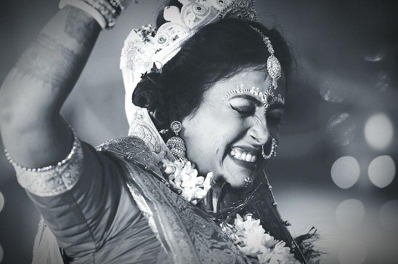 Close-Up Of Happy Bride In Wedding