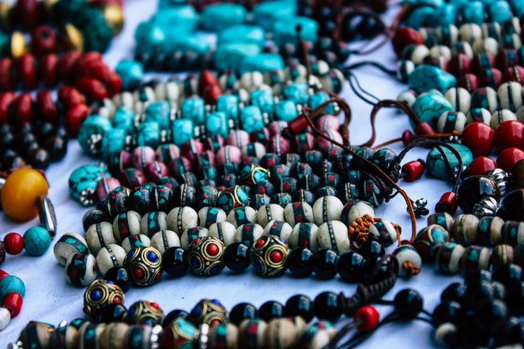 Close-up of jewelries for sale in market