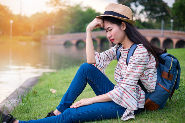 Asian  Cry Holiday Sadly Stress Thailand Tourist Travel Unhappy Woman Adventure Attractions Backpacker Exhausted Female Journey Sadness Strain The Bridge Tourism Traveler Vacation Weep Woeful Young Adult