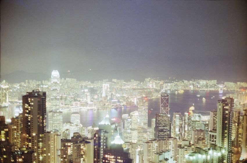 Analogue Photography Exposure Hong Kong Skyline Lit Long Exposure Night Skyline