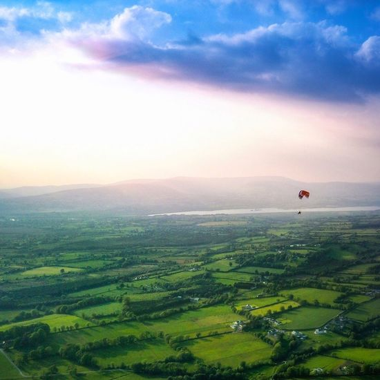 Mavic Pro Dji Ireland Paragliding Sky Scenics - Nature Tranquil Scene Beauty In Nature Cloud - Sky Environment Landscape Nature Field Idyllic Land No People Non-urban Scene Rural Scene Green Color Plant Tranquility Agriculture Growth Sunset