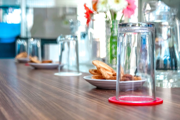 Close-up of breakfast served on table in restaurant