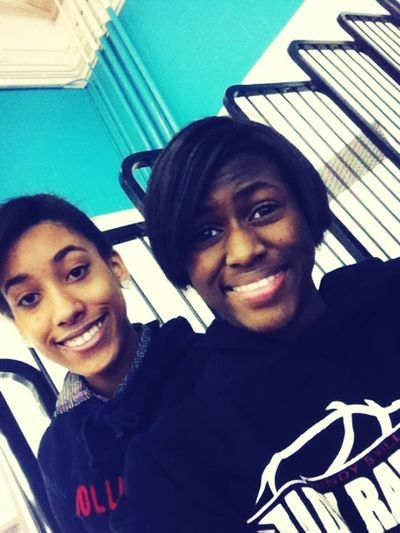 Me and Alexus at the games ; we won ^.^ boys lost :'( I'm so mad but happy.