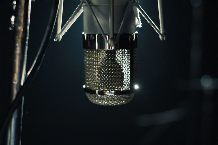 Close-Up Of Microphone In Darkroom