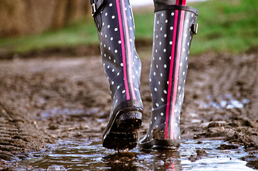 Dotted Gumboots Muddy Waters Puddleography Wellies  Wellington  Close-up Day Dots Focus On Foreground Human Body Part Human Leg Low Section Mud Muddy Nature One Person Outdoors People Points Puddle Puddle Reflections Real People Rubber Boots Scored Standing Walking Water Wet