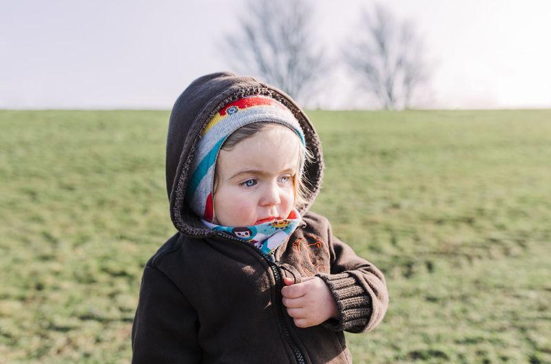 Cute girl on field