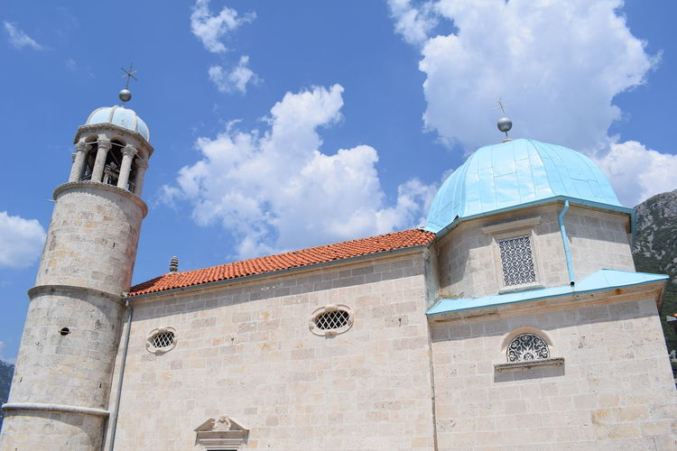 Perast Montenegro Architecture Belief Building Building Exterior Built Structure Cloud - Sky Day Dome Low Angle View Montenegro Nature No People Outdoors Place Of Worship Religion Roof Tile Sky Spirituality Tower Travel Travel Destinations