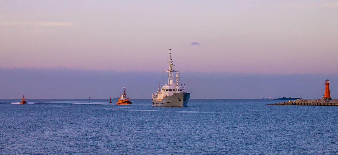 Polish navy ship near port gdansk