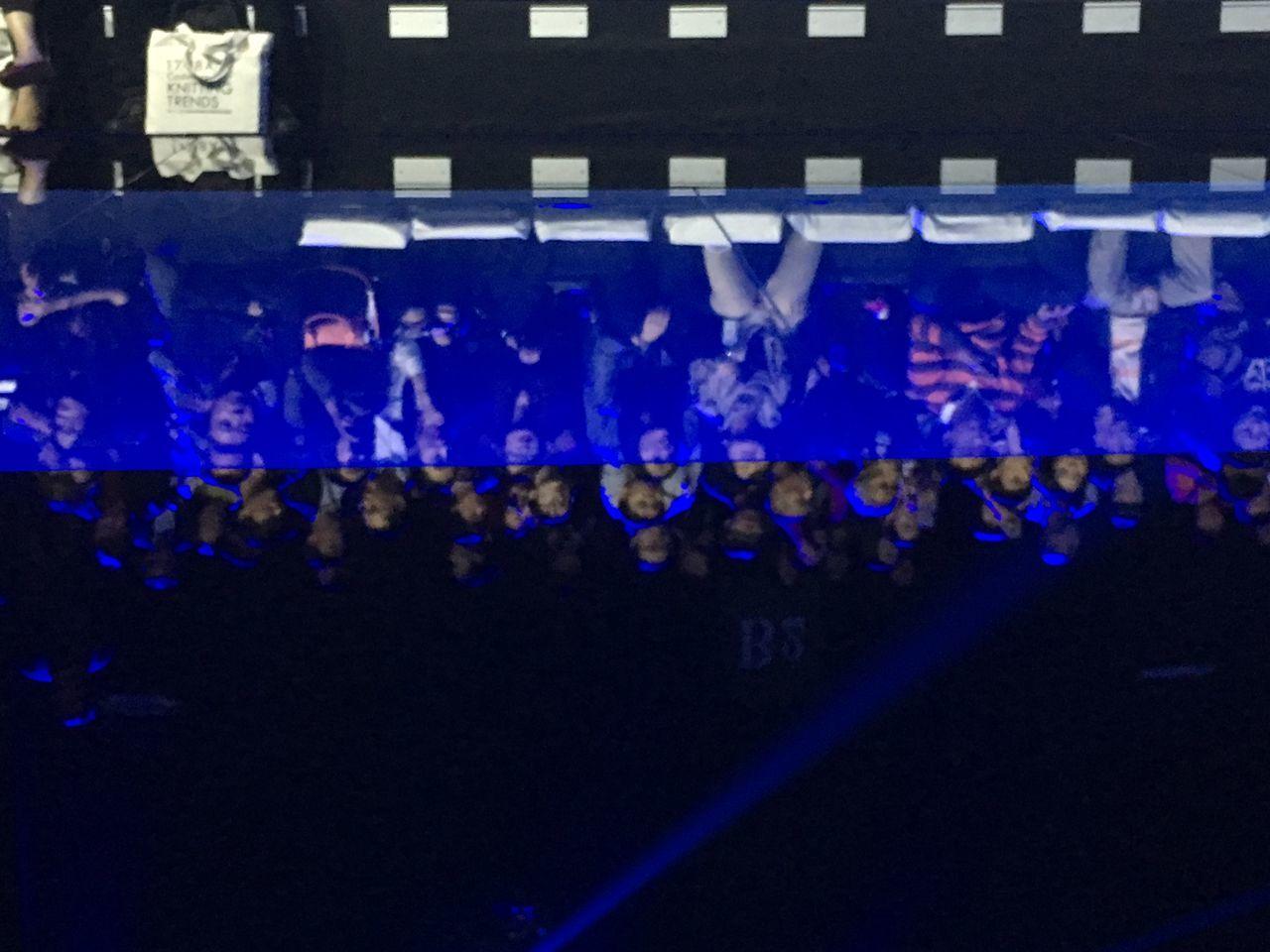 blue, indoors, night, hanging, illuminated, no people, close-up