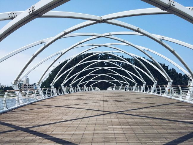 Architecture over the bridge in anmok in gangneung south korea