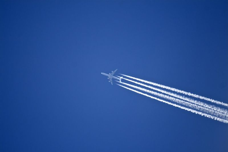 Air Vehicle Airplane Airport Blue Clear Sky Condensation Condensation Trail Day Flying Holiday Mode Of Transport Plane Stratosphere Trail Trails Transportation Travel Travel Destinations Travel Photography Traveling Travelphotography Vapor Trail Vapourtrail