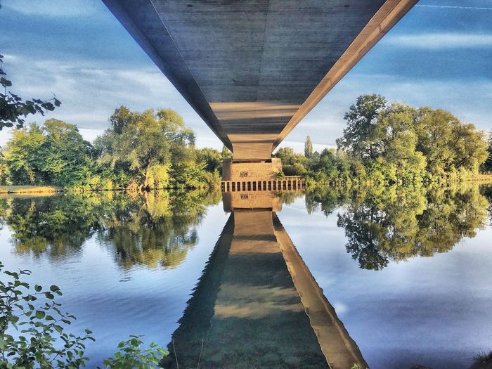 Reflection of bridge on river against sky