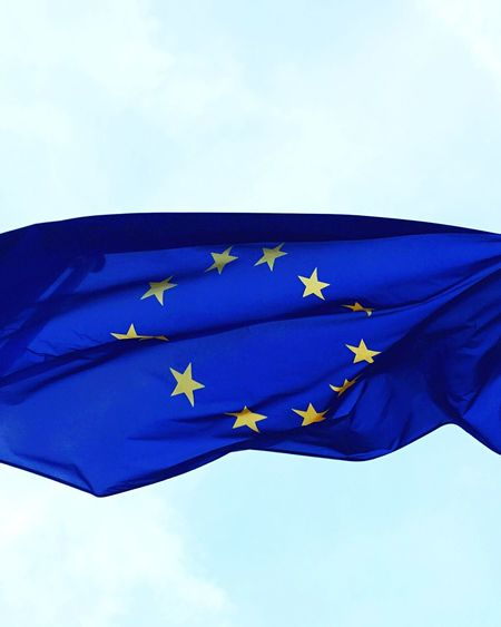 Flag Patriotism Low Angle View Blue Pride Sky Leaf Day Outdoors Fluttering No People Cloud - Sky Europe European  European Flag Europa