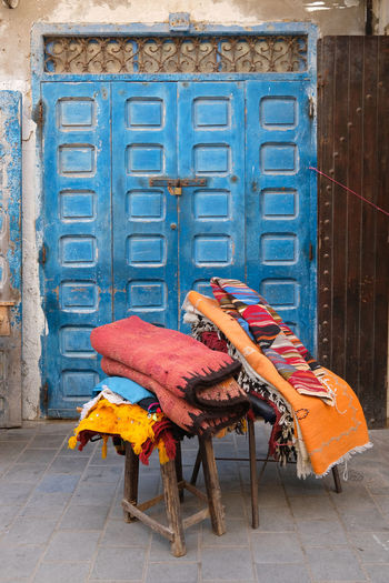Architecture Building Exterior Built Structure No People Seat Building Chair Door History Entrance City The Past Day Old Outdoors Travel Destinations Wood - Material Flooring Travel Antique Carpet Art And Craft Maroc Market Stall Essouira
