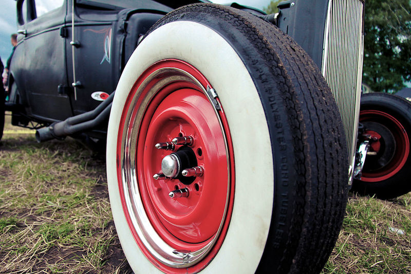 Close-up of red tire