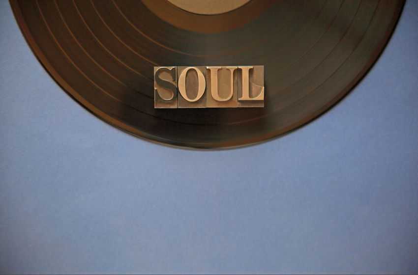 Soul word on vinyl record Black Blue Close-up Communication Copy Space Day Entertainment Font Indoors  Letters Metal Type Music Natural Light No People Overhead Recording Recreation  Semicircle Soul Studio Shot Typography Vinyl Record Word