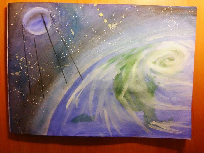 Hi! рисуноккосмос  Спутник галактика звезды рисунок красками день космонавтики