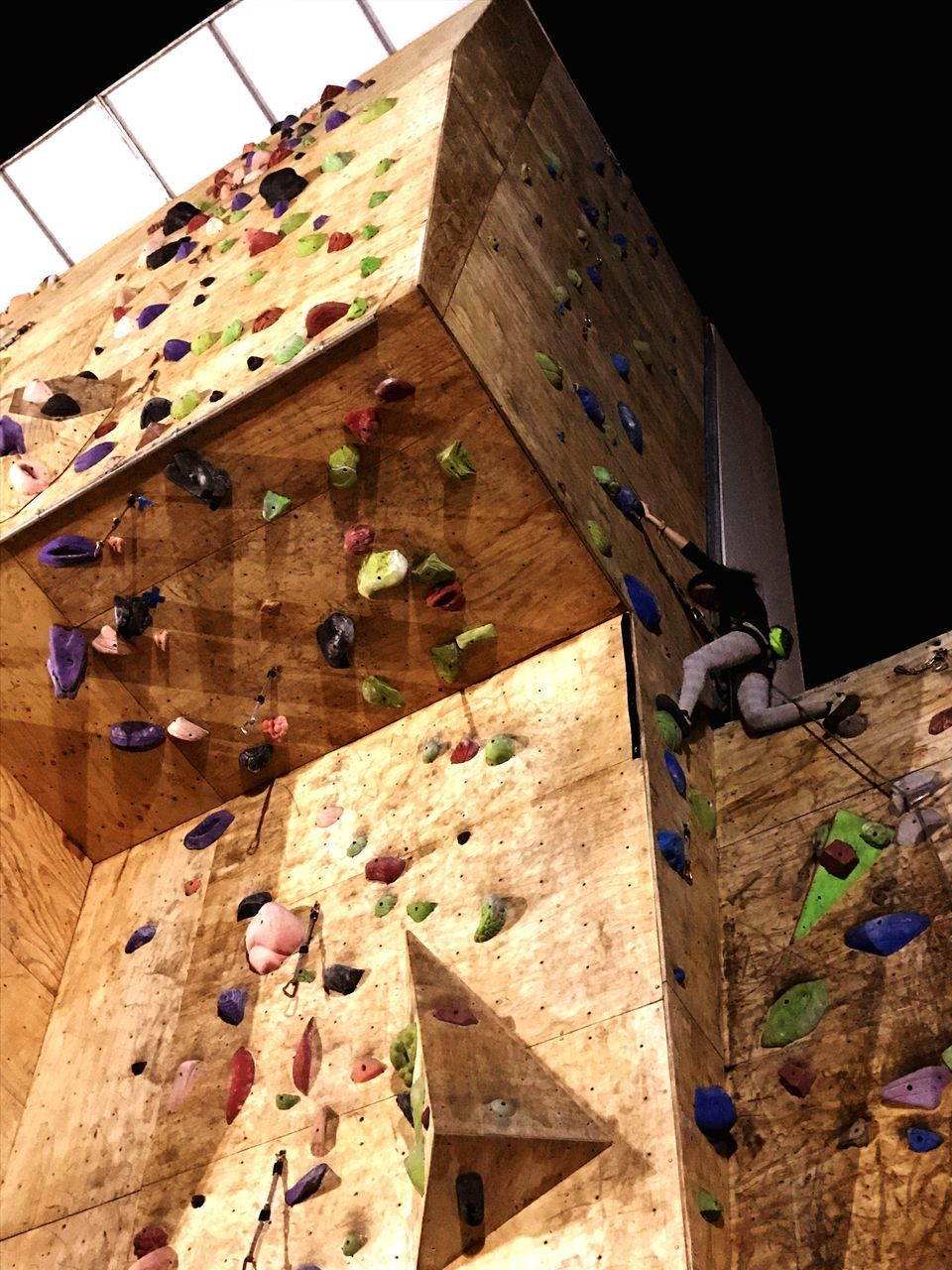 wood - material, climbing wall, indoors, adventure, challenge, climbing, architecture, no people, day, extreme sports, high, close-up