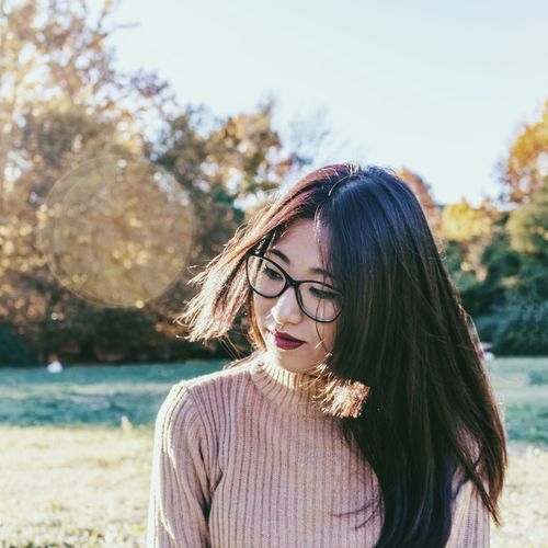 Ele Autumn Long Hair Hair Hairstyle Young Adult Young Women One Person Focus On Foreground Portrait Beauty Lifestyles Glasses Day Looking Leisure Activity Nature Eyeglasses  Standing Front View Beautiful Woman Outdoors Capture Tomorrow