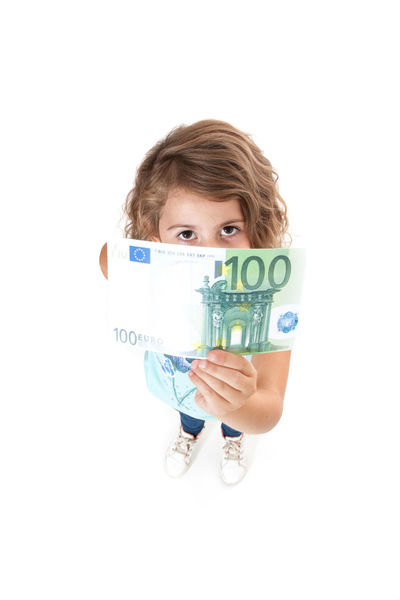 Young girl holding 100 euro note. All on white background. Child Child Care Childhood Curly Hair Euro Euro Notes Full Length Girl Girlhood High Angle View Isolated On White Isolated White Background Kid Money One Person Pocket Money Social Benefit Social Care Standing Studio Shot White Background Young Girl