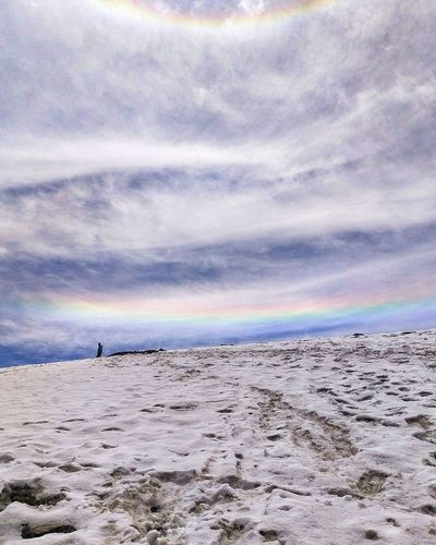 Rainbows in Snow! Sar Pass, India. Nature Beauty In Nature Sand Scenics Beach Sky Tranquility Outdoors Cloud - Sky Tranquil Scene Sea Day No People Landscape Water Animal Themes Bird Let's Go. Together.