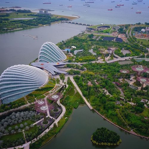 High angle view of gardens by the bay in city
