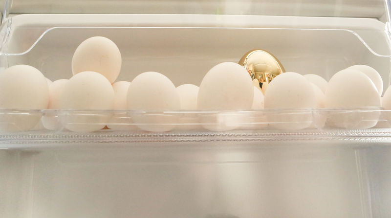 Arrangement Close-up Crate Easter Egg Carton Eggs Food Food And Drink Freshness Golden Golden Egg Healthy Eating Indoors  No People Refrigerator Still Life White Eggs