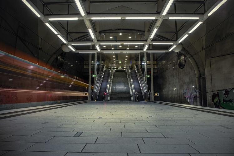 View of illuminated underground walkway