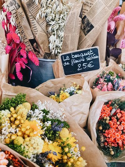High angle view of flower for sale at market stall