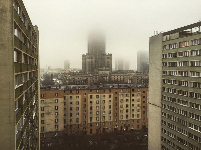 Warsaw Poland Warszawa  Polska Polen Warschau Nebel Mgla Mist Palac Kultury Stolica Ghetto Block