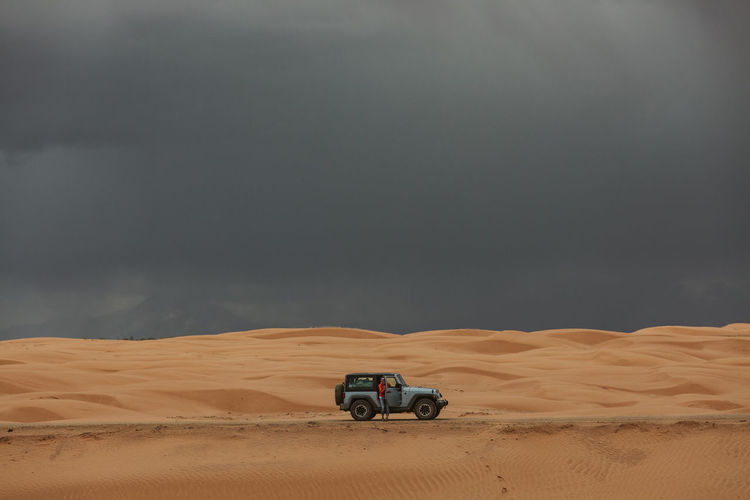 View of motorcycle on desert