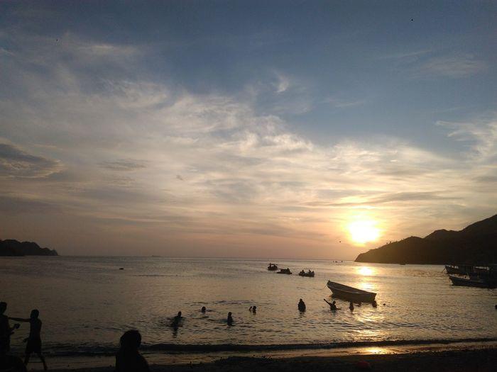 Atardecer Taganguero Water Sea Sunset Beach Low Tide Tree Summer Sand Silhouette Blue First Eyeem Photo