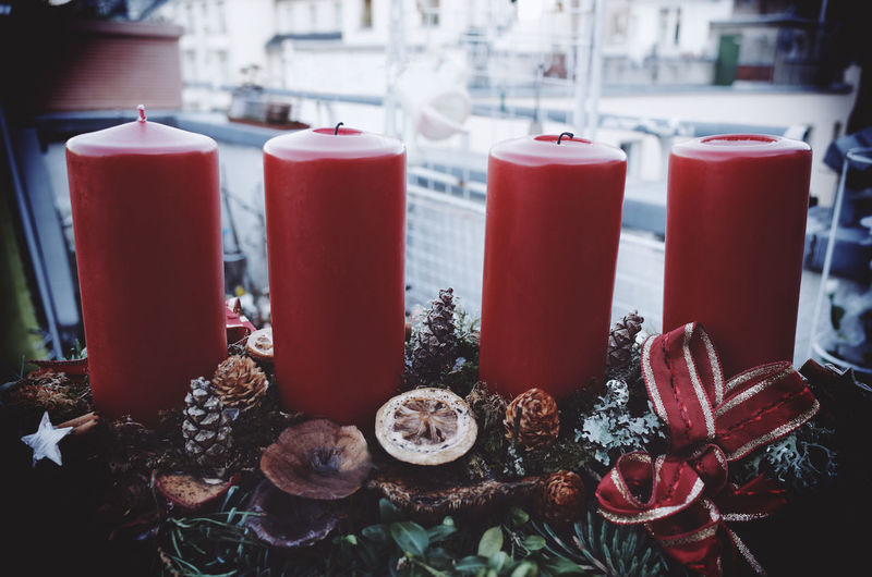 Close-up advent wreath with candles