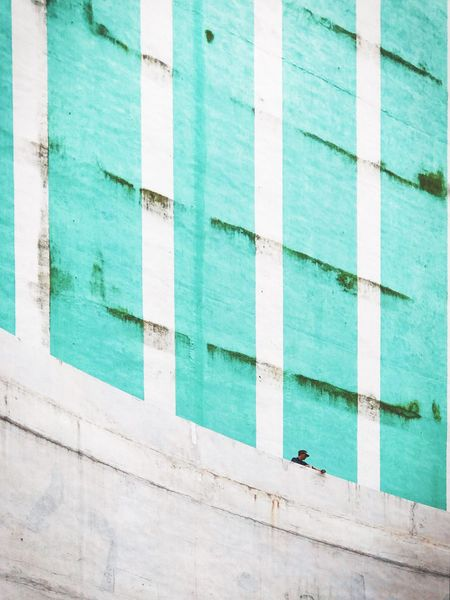Architecture Built Structure Building Exterior Outdoors Day Blue Backgrounds Street Men Rusty One Person Big City Small Life Minimalism IPhoneography